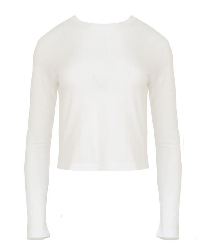 """carolina long sleev tee, $165 by j brand at [The Undone](https://www.theundone.com/collections/tops/products/carolina-long-sleeve-tee-white
