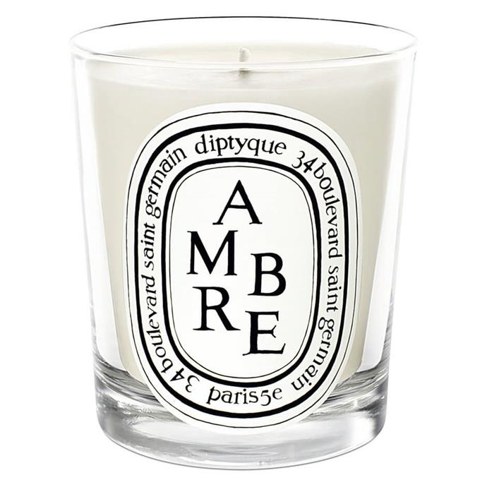 "Ambre Candle, $89 by Diptyque at [MECCA](https://www.mecca.com.au/diptyque/ambre-candle/I-023886.html|target=""_blank""