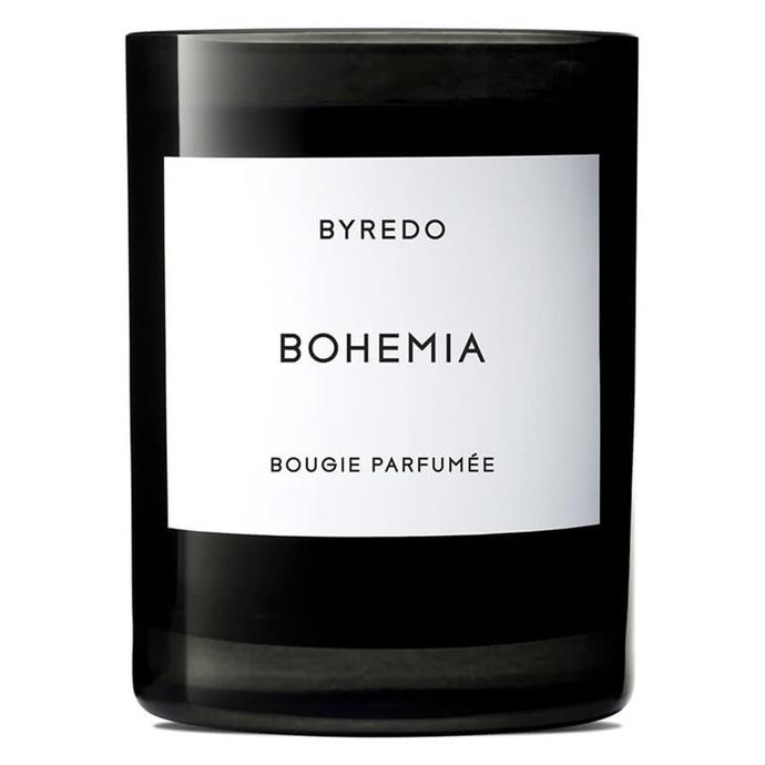 "Bohemia, $110 by Byredo at [MECCA](https://www.mecca.com.au/byredo/bohemia-candle-240g/I-018300.html|target=""_blank""
