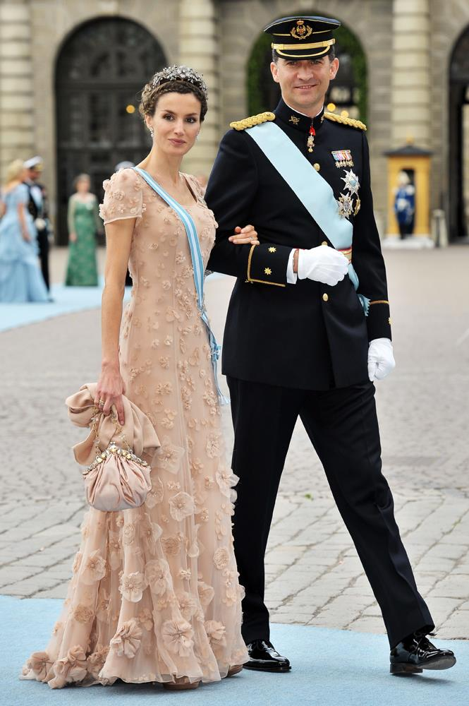 Queen Letizia of Spain (and King Felipe of Spain) attending the wedding of Crown Princess Victoria of Sweden and Daniel Westling in 2010.