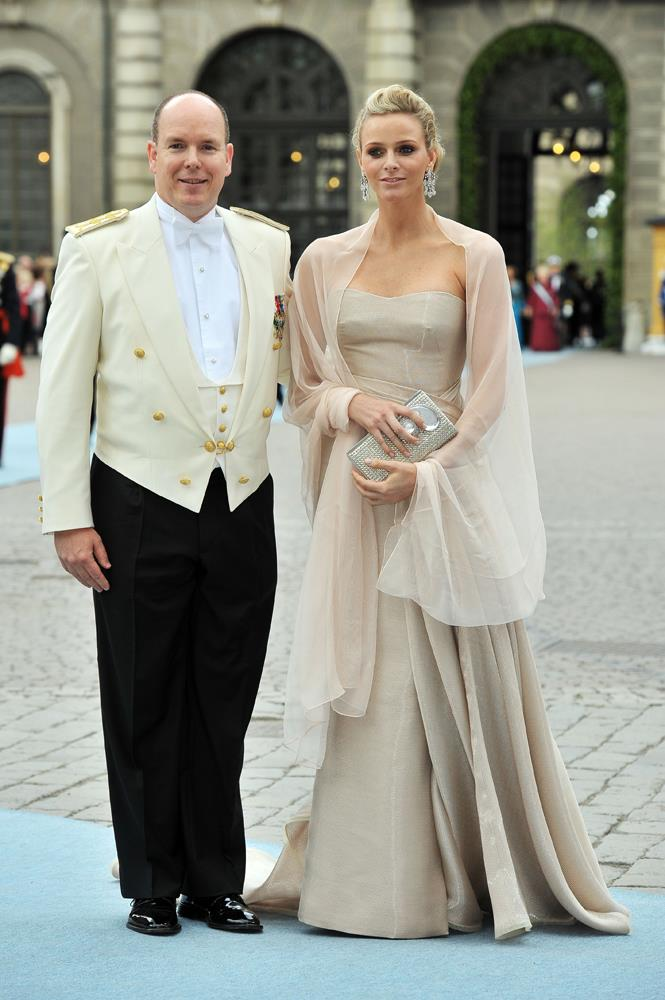 Charlene Wittstock (and Prince Albert of Monaco) attending the wedding of Crown Princess Victoria of Sweden and Daniel Westling in 2010.