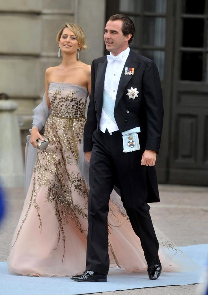 Princess Tatiana of Greece (and Prince Nikolaos) attending the wedding of Crown Princess Victoria of Sweden and Daniel Westling in 2010.