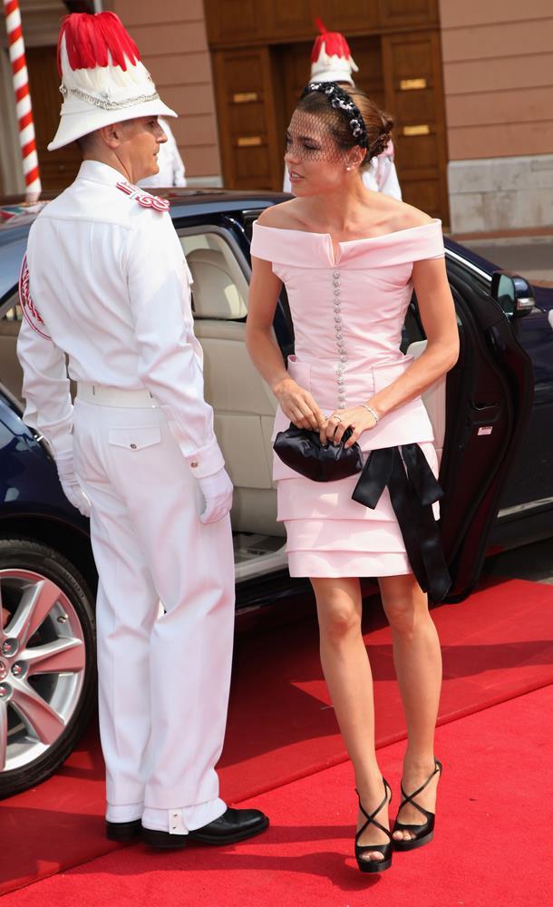 Charlotte Casiraghi, in Chanel, attending wedding of Prince Albert II of Monaco and Charlene Wittstock in 2011.