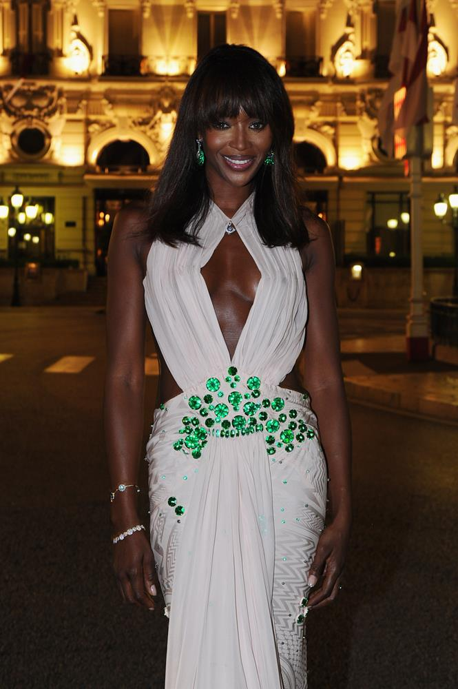 Naomi Campbell, in Givenchy, attending the wedding of Prince Albert II of Monaco and Charlene Wittstock in 2011.