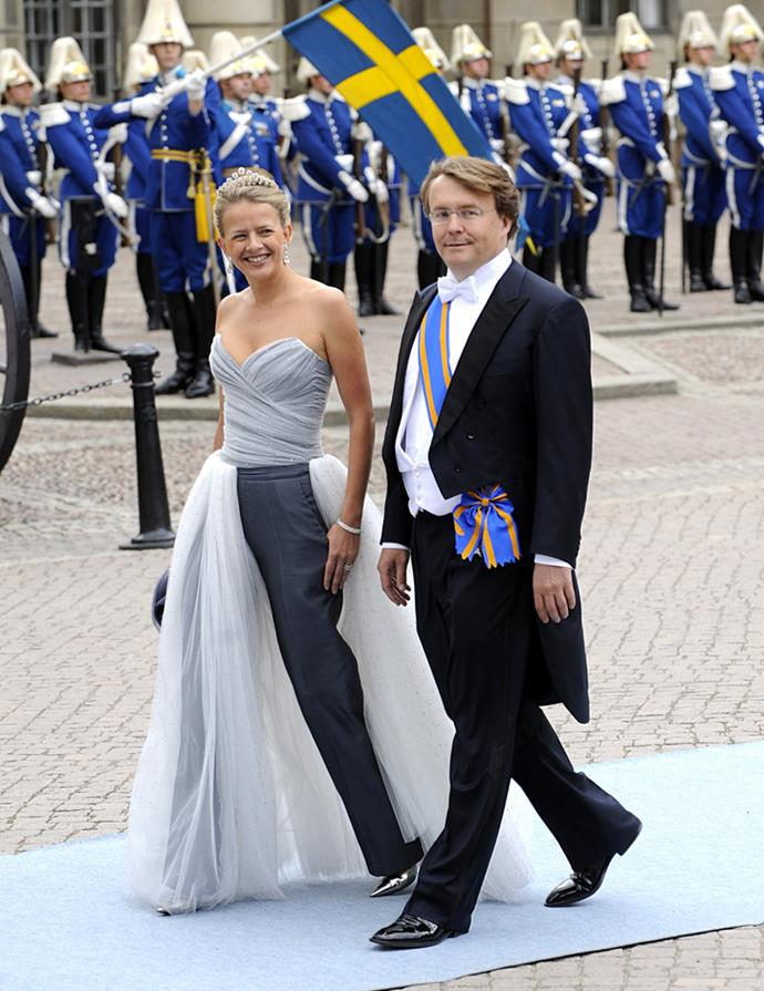 Princess Mabel, in Viktor & Rolf, (and Prince Friso) attending the wedding of Crown Princess Victoria of Sweden andnd Daniel Westling in 2010.