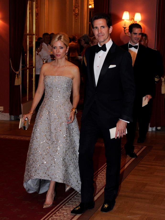 Crown Princess Marie-Chantal of Greece (and Crown Prince Pavlos) attending the wedding of Princess Madeleine of Sweden and Christopher O'Neill in 2013.