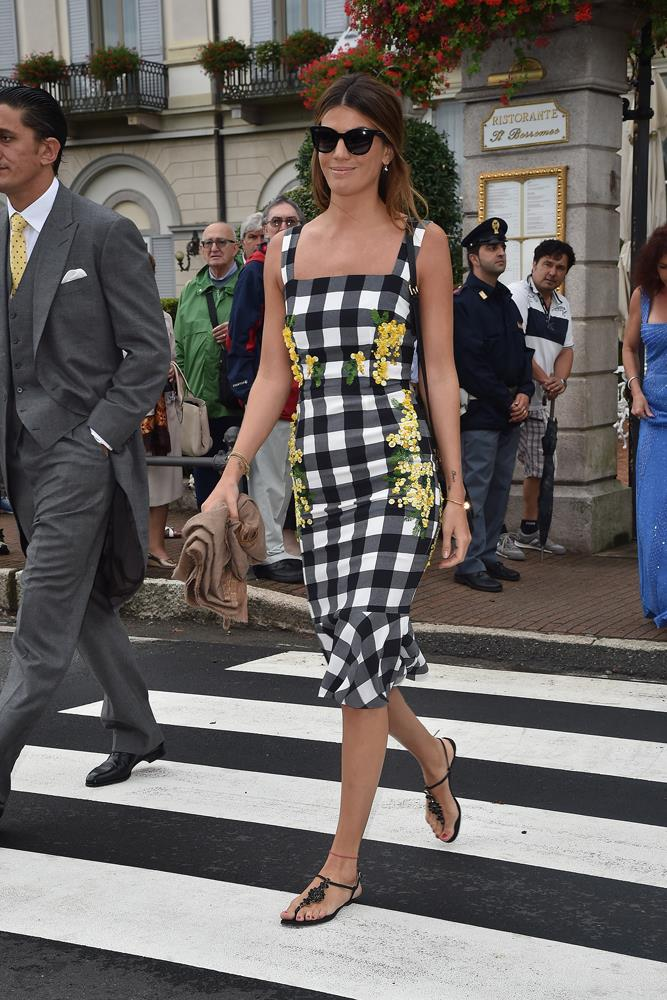 Bianca Brandolini d'Adda, in Dolce & Gabbana, attending the wedding of Pierre Casiraghi and Beatrice Borromeo in 2015.
