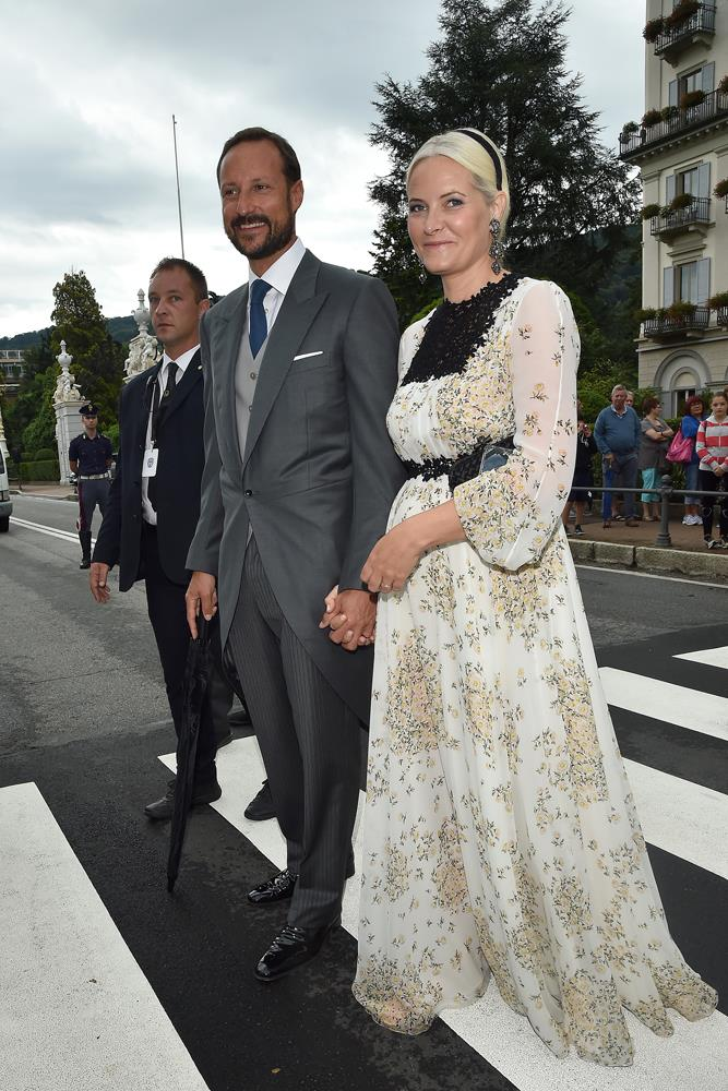 Princess Mette-Marit of Norway (and Prince Haakon of Norway), in Giambattista Valli, attending the wedding of Pierre Casiraghi and Beatrice Borromeo in 2015.