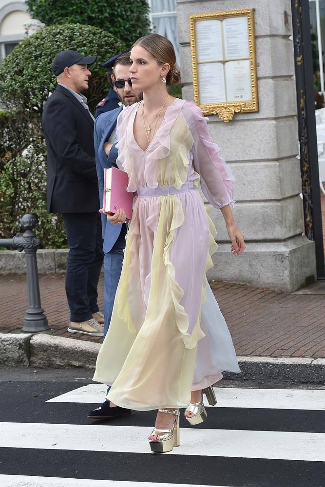 Eugenie Niarchos, in Valentino, attending the wedding of Pierre Casiraghi and Beatrice Borromeo in 2015.
