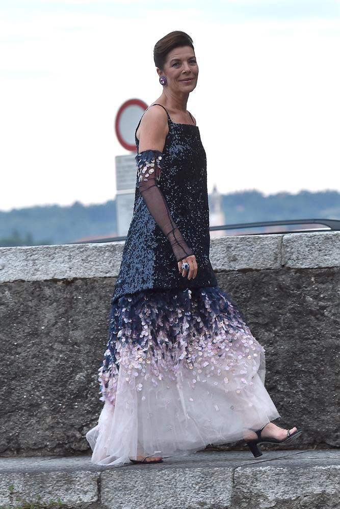 Caroline, Princess of Hanover, in vintage Chanel, attending the wedding of Pierre Casiraghi and Beatrice Borromeo in 2015.