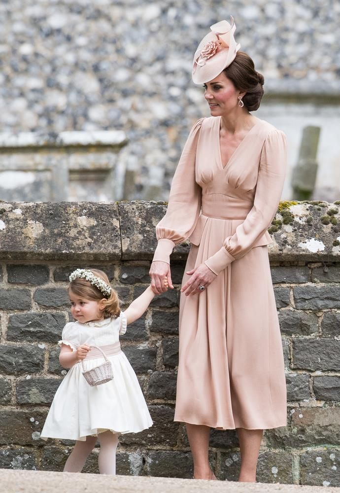 Catherine, Duchess of Cambridge, in Alexander McQueen, attending the wedding Of Pippa Middleton and James Matthews in 2017.