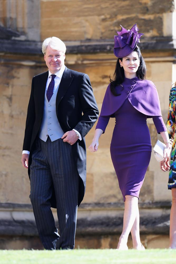 Karen Spencer (and Charles Spencer, 9th Earl Spencer) attending the wedding of Prince Harry and Meghan Markle in 2018.