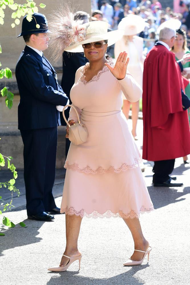 Oprah Winfrey, in Stella McCartney, attending the wedding of Prince Harry and Meghan Markle in 2018.