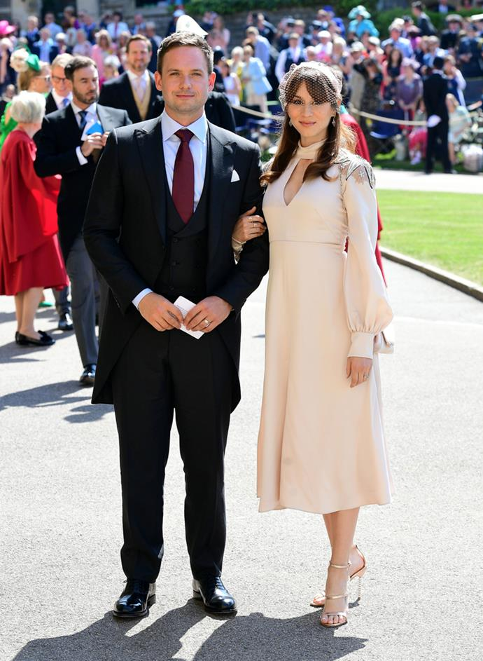 Troian Bellisario, in Temperley London, (and Patrick J. Adams) attending the wedding of Prince Harry and Meghan Markle in 2018.