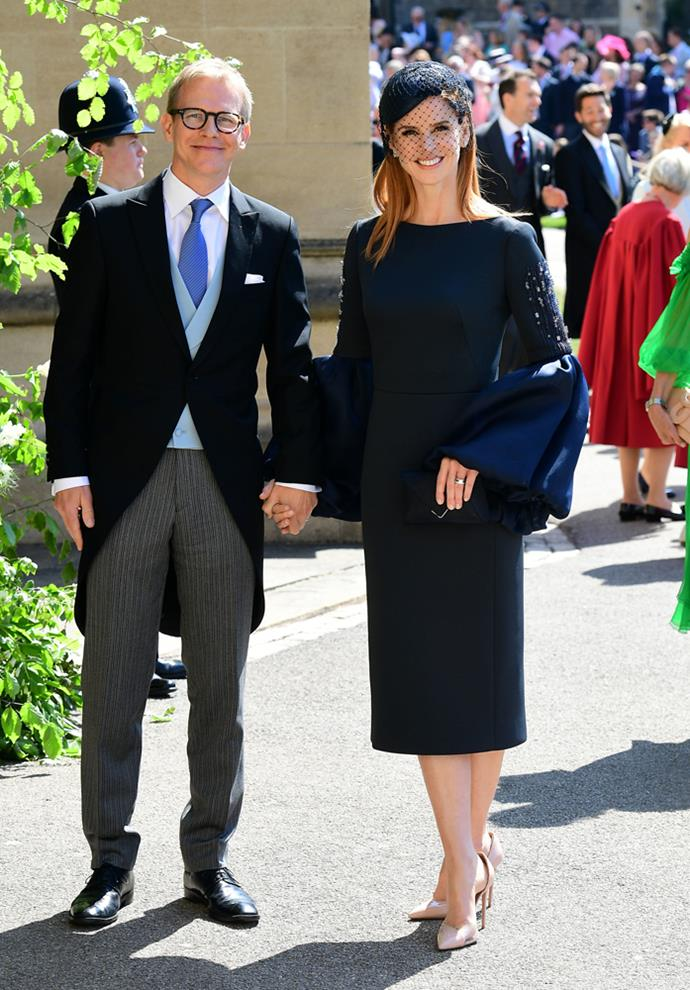 Sarah Rafferty, in Lanvin, (and Santtu Seppälä) attending the wedding of Prince Harry and Meghan Markle in 2018.