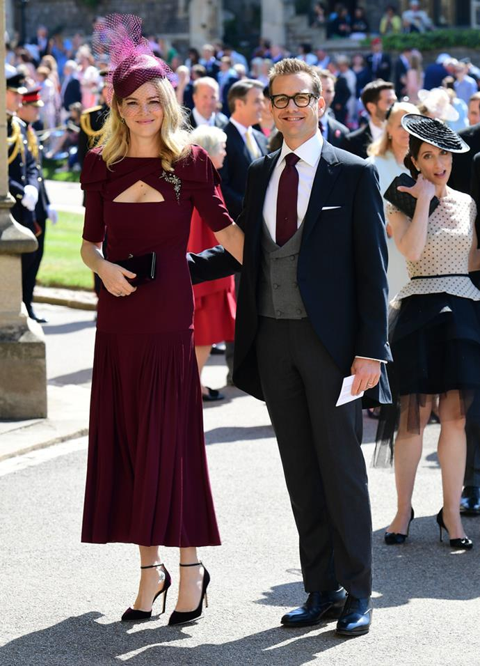 Jacinda Barrett (and Gabriel Macht) attending the wedding of Prince Harry and Meghan Markle in 2018.
