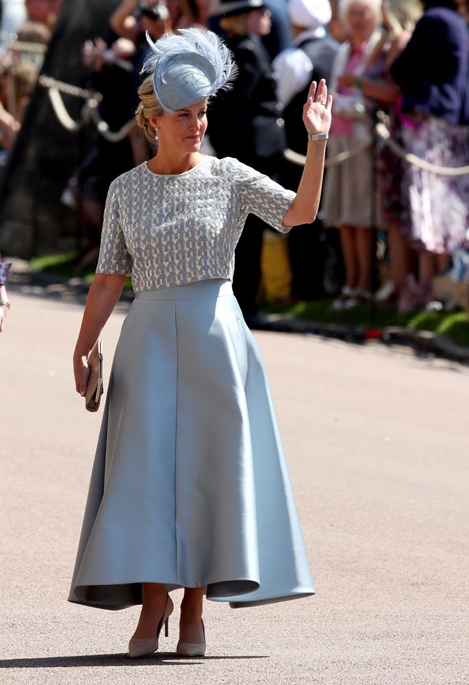 Sophie, Countess of Wessex, in Suzannah London, attending the wedding of Prince Harry and Meghan Markle in 2018.