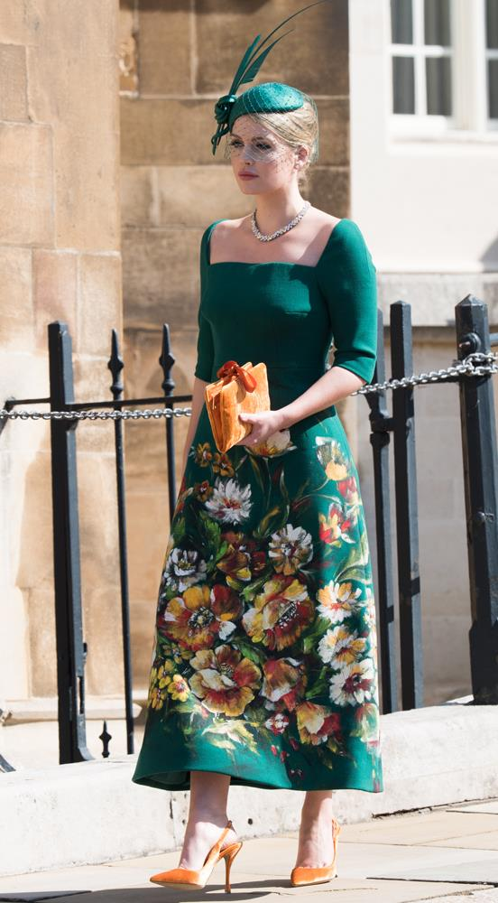 Lady Kitty Spencer, in Dolce & Gabbana, attending the wedding of Prince Harry and Meghan Markle in 2018.