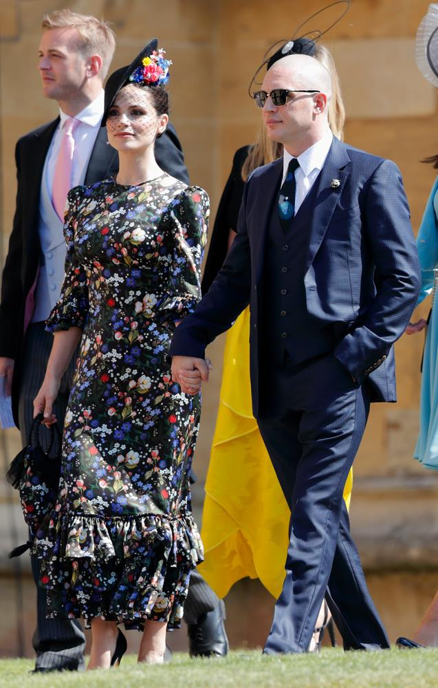 Charlotte Riley, in The Vampire's Wife, (and Tom Hardy) attending the wedding of Prince Harry and Meghan Markle in 2018.