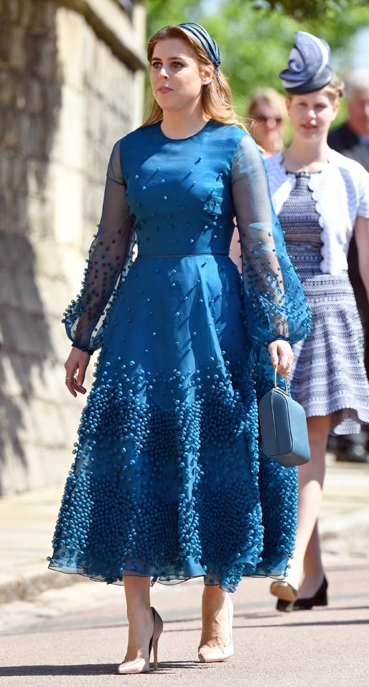 Princess Beatrice, in Roksanda Ilincic, attending the wedding of Prince Harry and Meghan Markle in 2018.