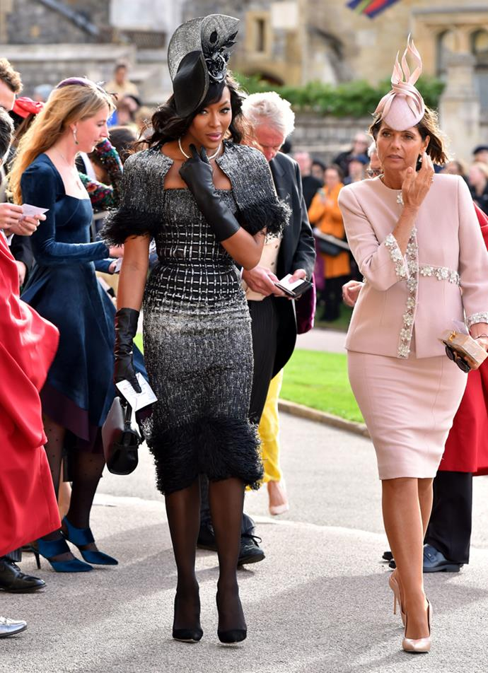 Naomi Campbell, in Ralph & Russo, attending the wedding of Princess Eugenie of York and Jack Brooksbank in 2018.