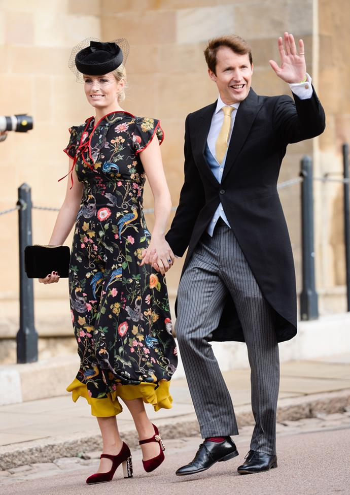 Sofia Wellesley and James Blunt attending the wedding of Princess Eugenie of York and Jack Brooksbank in 2018.