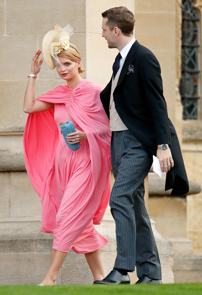 Pixie Geldof, in vintage Celine, (and George Barnett) attending the wedding of Princess Eugenie of York and Jack Brooksbank in 2018.