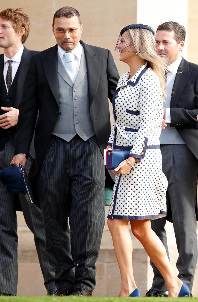 Kate Moss attending the wedding of Princess Eugenie of York and Jack Brooksbank in 2018.