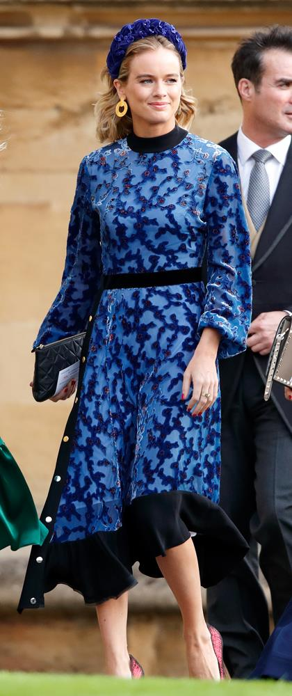 Cressida Bonas, in Tory Burch, attending the wedding of Princess Eugenie of York and Jack Brooksbank in 2018.