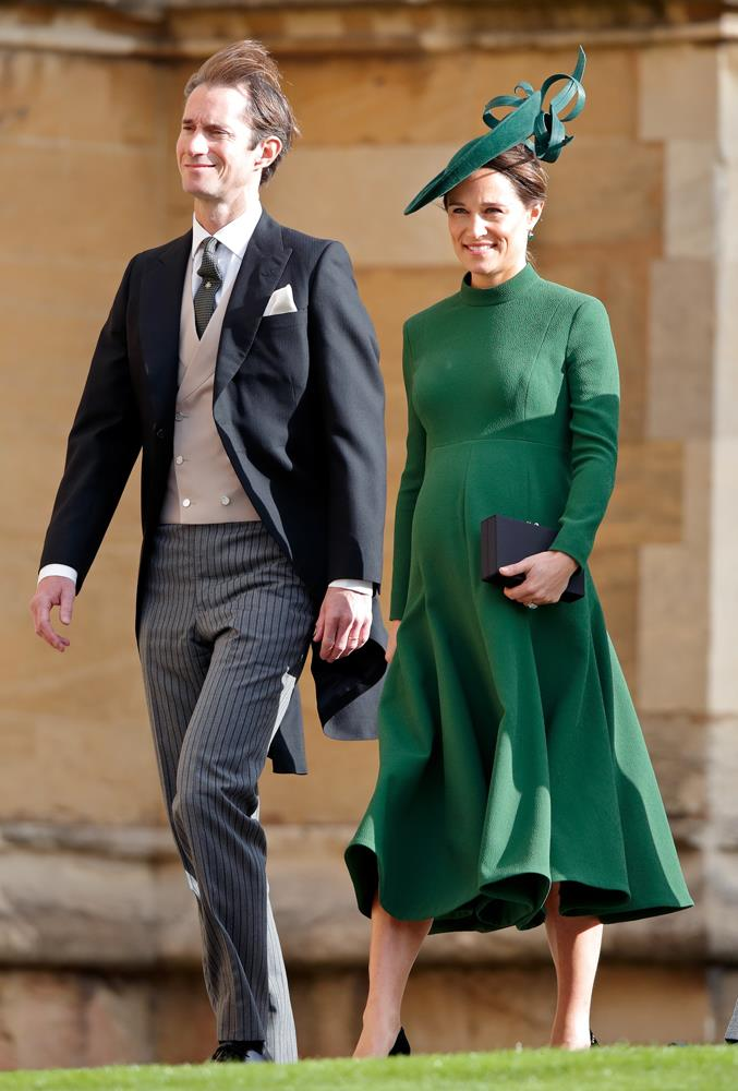 Pippa Middleton, in Emilia Wickstead, (and James Matthews) attending the wedding of Princess Eugenie of York and Jack Brooksbank in 2018.