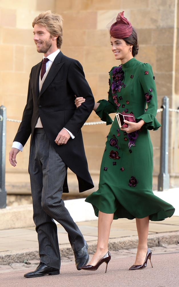 Alessandra de Osma, in Andrew Gn, (and Prince Christian of Hanover) attending the wedding of Princess Eugenie of York and Jack Brooksbank in 2018.