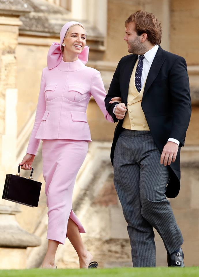 Sabine Getty, in Emilia Wickstead, (and Joseph Getty) attending the wedding of Princess Eugenie of York and Jack Brooksbank in 2018.
