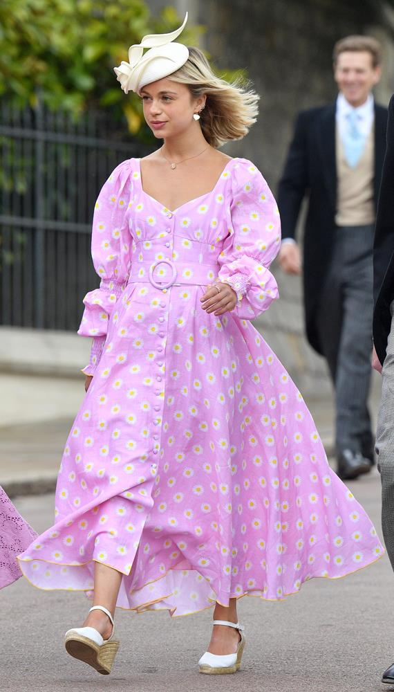 Lady Amelia Windsor attending the wedding of Lady Gabriella Windsor and Thomas Kingston in 2019.