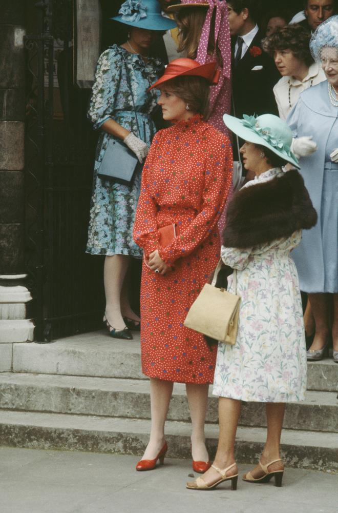Diana, Princess of Wales, attending the wedding of Nicholas Soames and Catherine Weatherall in 1981.