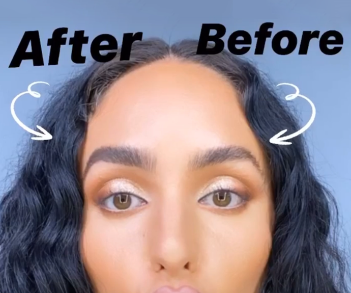 The finished result vs. the natural brow Via: Instagram/@ash_kholm