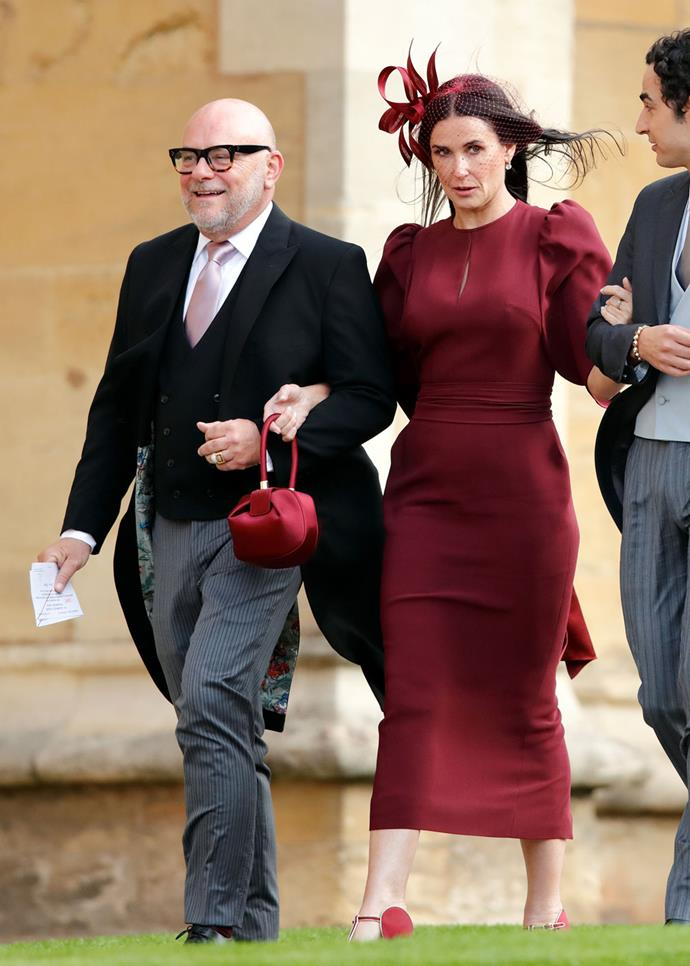 Demi Moore, in Stella McCartney, (and Eric Buterbaugh) attending the wedding of Princess Eugenie of York and Jack Brooksbank in 2018.