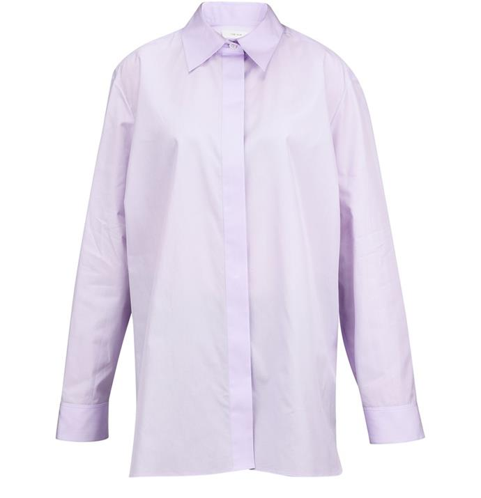 "Big Sisea Cotton-poplin Shirt, $2,905 by The Row at [Net-A-Porter](https://www.net-a-porter.com/en-au/shop/product/the-row/big-sisea-cotton-poplin-shirt/1235156|target=""_blank""|rel=""nofollow"")."