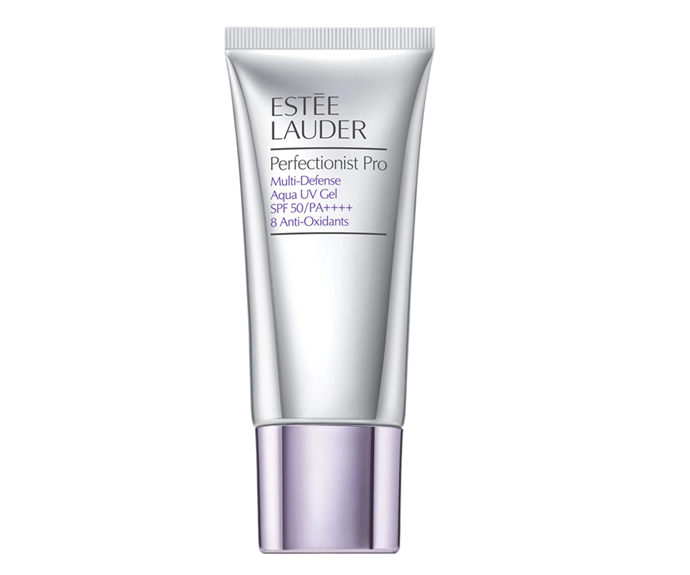 "**Perfectionist Pro Multi-Defense Aqua UV Gel SPF50/PA++++ by Estée Lauder, $60 at [Selfridges](https://www.selfridges.com/AU/en/cat/estee-lauder-perfectionist-pro-multi-defense-aqua-uv-gel-spf-50-pa-with-8-anti-oxidants-30ml_R00108320/?previewSize=30ml&cm_mmc=PLA-_-GoogleAU-_-BEAUTY-_-ESTEELAUDER&POR=Y|target=""_blank""