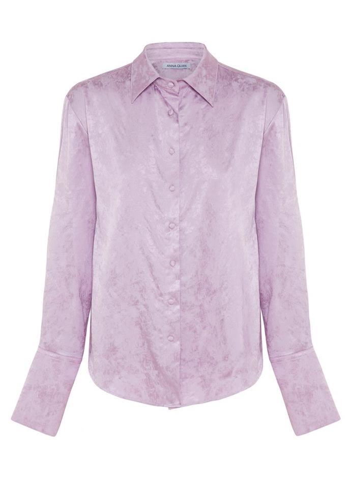 "Lana Jacquard Shirt, $360 by [Anna Quan](https://annaquan.com/products/lana-shirt-lilac|target=""_blank""|rel=""nofollow"")."