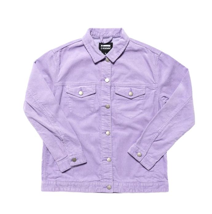 "Larissa Cord Jacket, $144.95 by [Dr Denim](https://drdenim.com.au/collections/womens-jackets/products/larissa-cord-jacket-lavender|target=""_blank""|rel=""nofollow"")."