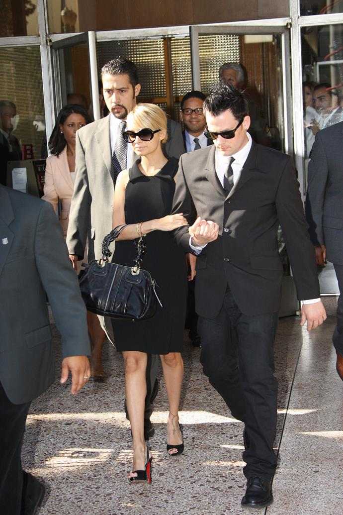 After pleading guilty for driving under the influence of drugs, Nicole Richie stepped out with her now-husband Joel Madden in what was one of the most timeless courthouse looks.   For 2007, the oversized sunglasses, low chignon and peep-toe Louboutins were accessory perfection.
