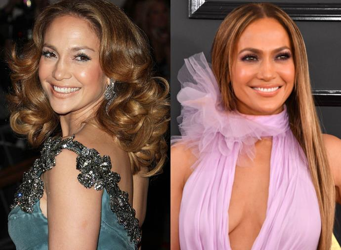 """**Jennifer Lopez**<br><br>  While [Jennifer Lopez's natural strands](https://www.harpersbazaar.com.au/beauty/jennifer-lopez-before-after-19013