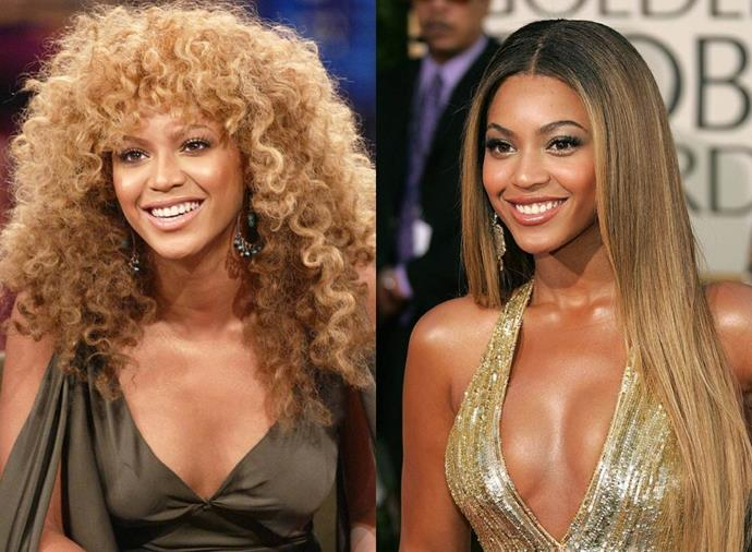 **Beyoncé**<br><br>  Having sported numerous looks over the course of her career, Beyoncé has always looked equally at-home with wild, halo-esque curls and sleek strands alike.