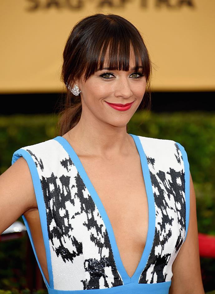 **Rashida Jones** <br><br> Jones is a Harvard graduate, majoring in comparative religion in 1997. While we always knew she was smart, we didn't know that she acted as the musical director of the university's a capella group.