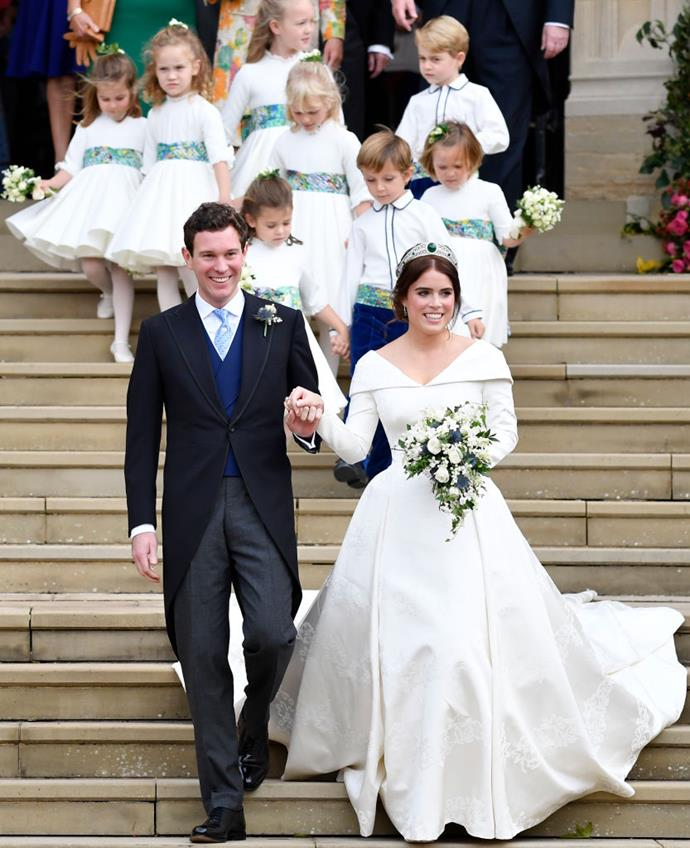 "**10. Princess Eugenie and Jack Brooksbank's 2018 Wedding**<br><br>  **Estimated cost:** approx. AUD $4.9 million (£2.7 million)<br><br>  Although the royal family has never revealed how much [Princess Eugenie's wedding](https://www.harpersbazaar.com.au/culture/princess-eugenie-wedding-photo-17734|target=""_blank"") cost, it's been [estimated](https://www.express.co.uk/news/royal/1025308/Princess-eugenie-royal-wedding-wedding-cost-compared-to-meghan-markle-prince-harry