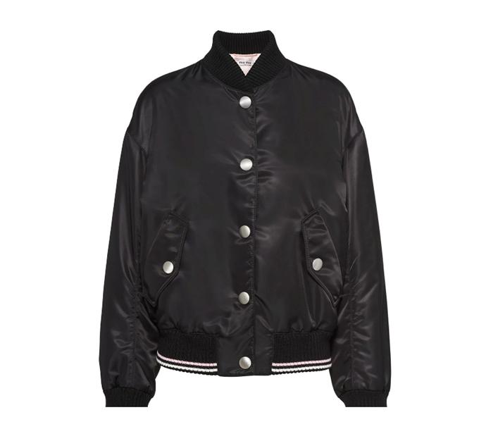 "Nylon Bomber Jacket, $1,940 by Miu Miu at [Farfetch](https://www.farfetch.com/au/shopping/women/miu-miu-nylon-snap-fastening-bomber-jacket-item-15454803.aspx?storeid=12141|target=""_blank""|rel=""nofollow"")."