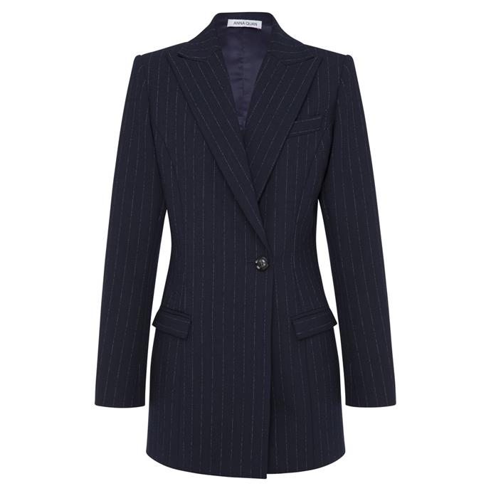 "Sienna Blazer, $695 by [Anna Quan](https://annaquan.com/products/sienna-jacket-chalk-stripe|target=""_blank""|rel=""nofollow"")."