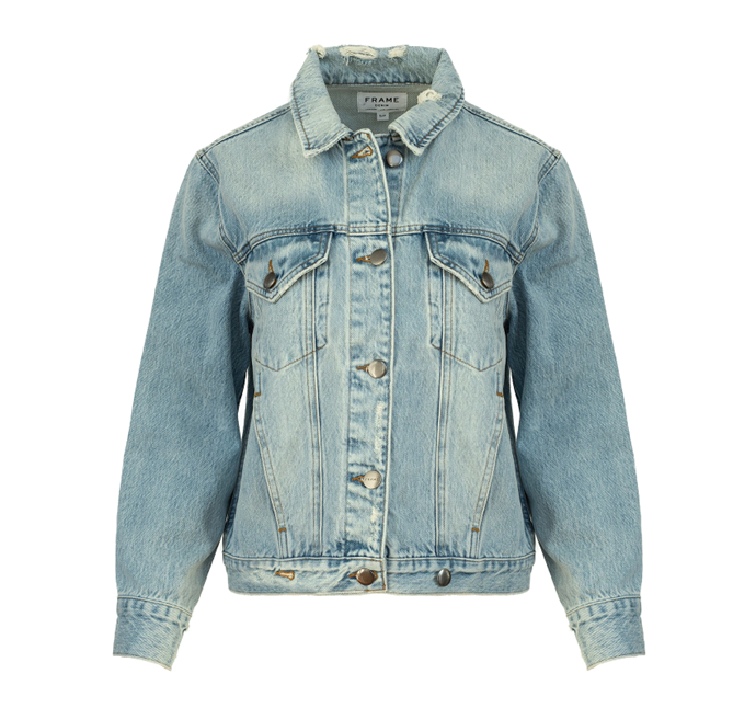 """Overlap Denim Jacket, $367.50 by Frame Denim at [The Undone](https://www.theundone.com/collections/jackets/products/overlap-denim-jacket