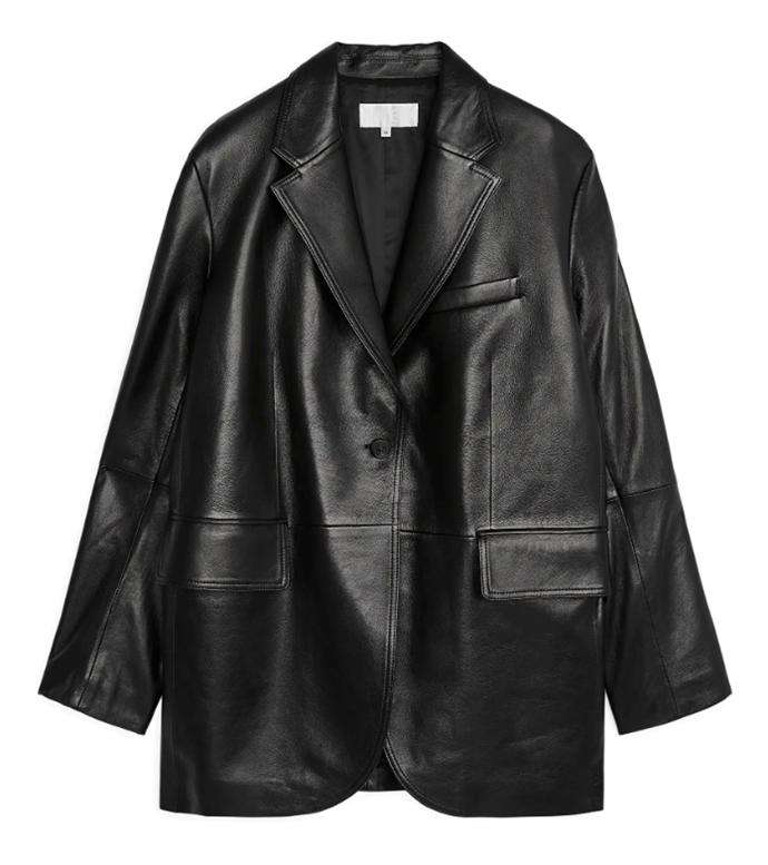 "Oversized Leather Jacket, $650 AUD approx by [Arket](https://www.arket.com/en/women/tailoring/product.oversized-leather-blazer-black.0805686001.html?gclid=Cj0KCQjwgJv4BRCrARIsAB17JI62fXLvGgh1kd5U8VeLqqGWVJU2PE8kKYRGopsMPK5jMsT50BdT0_QaAihHEALw_wcB|target=""_blank""|rel=""nofollow"")."