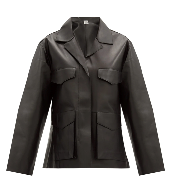 """Avignon Patch-Pocket Leather Jacket, $2,857 by Totême at [MatchesFashion](https://www.matchesfashion.com/au/products/Tot%C3%AAme-Avignon-patch-pocket-leather-jacket-1364595